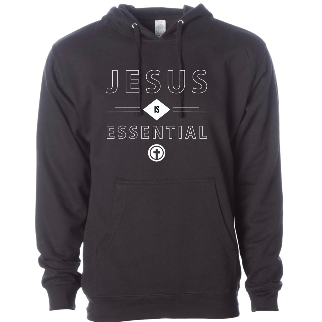 JESUS IS ESSENTIAL BLACK HOODED SWEATSHIRT