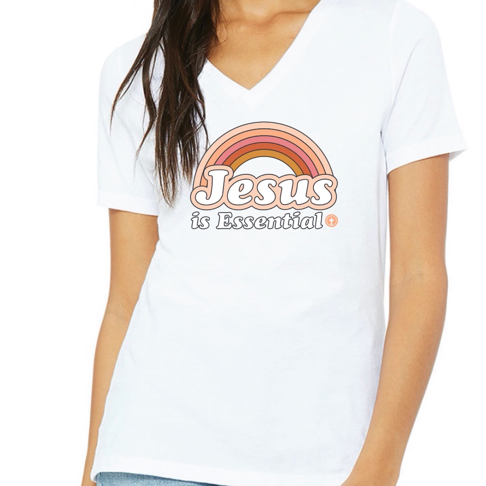 WOMEN'S JESUS IS ESSENTIAL ANNIVERSARY TEE, WHITE V-NECK