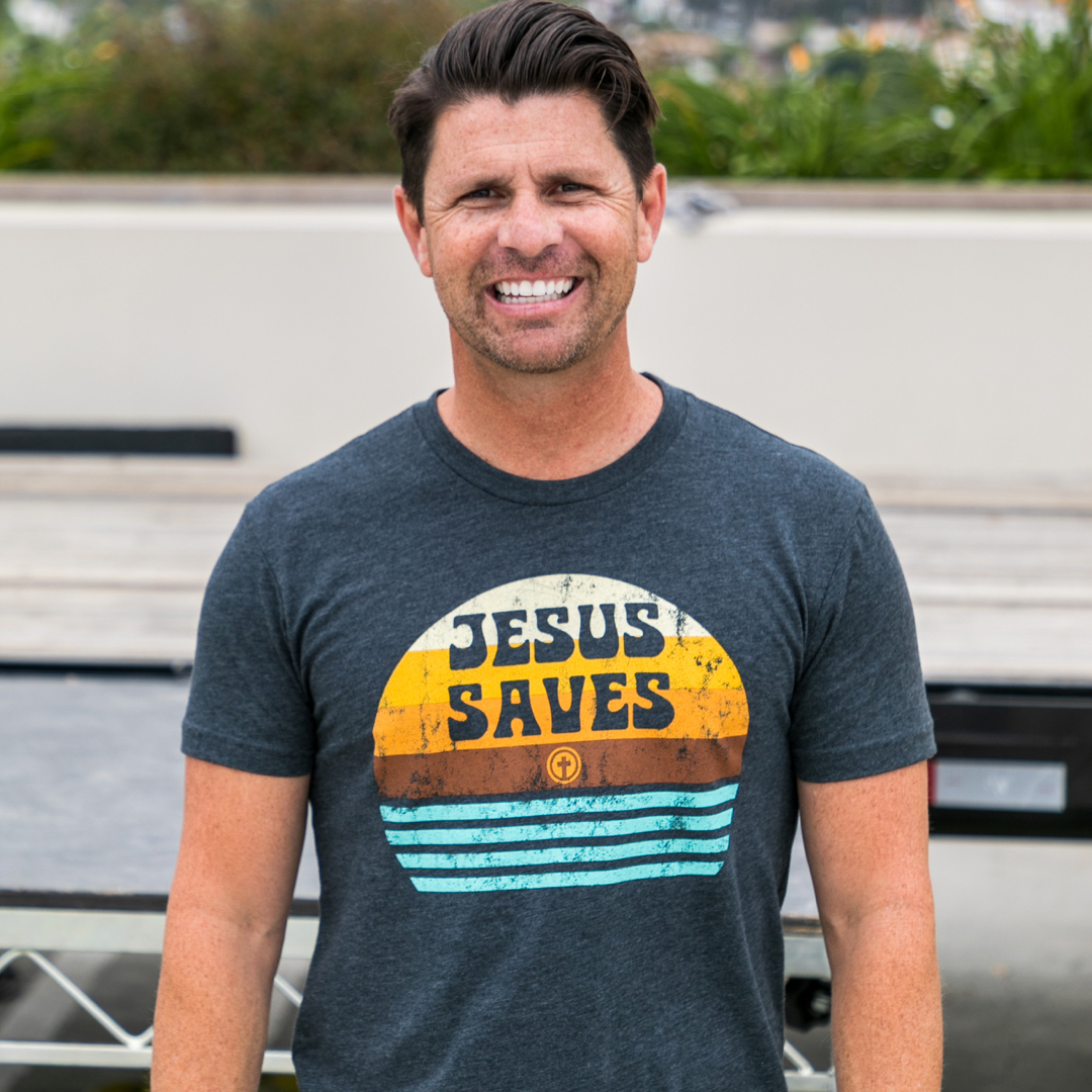 Jesus Saves Charcoal Tee