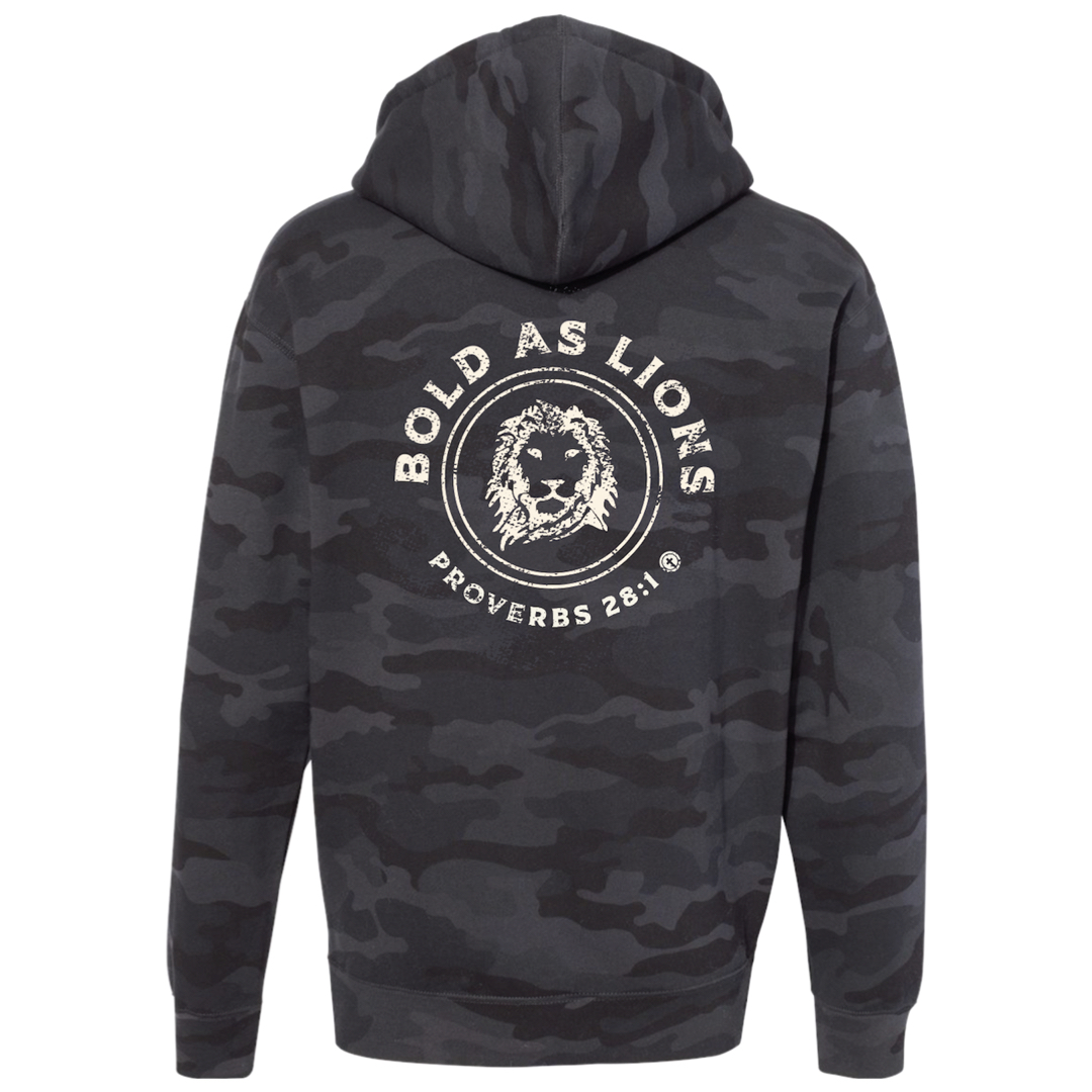 BOLD AS LIONS HOODED SWEATSHIRT IN BLACK CAMO