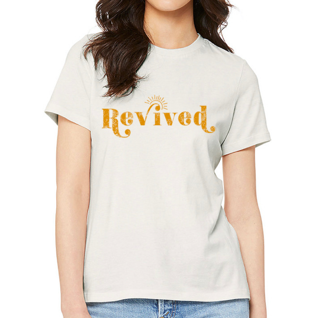 REVIVED Women's Tee Shirt, Vintage White